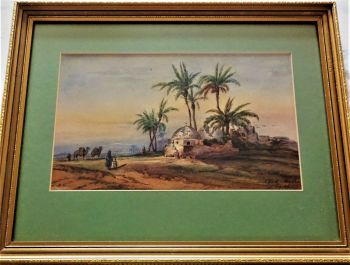 Scheik Abadie village and tomb. East Bank of Nile, aka Insine or Antinoupolis, watercolour, signed L.M.N. 1856, titled Scheik Abadie Egypt.