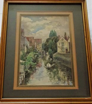 Antiquaire, Belgian Canal Scene, watercolour, signed initials GC, c1920. Framed.