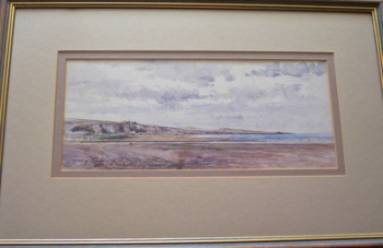 EXTENSIVE COASTAL SCENE, PEN, INK AND WATERCOLOUR BY SIR HENRY RUSHBURY c1920.   SOLD.