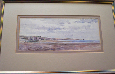 EXTENSIVE COASTAL SCENE, PEN, INK AND WATERCOLOUR BY SIR HENRY RUSHBURY c19
