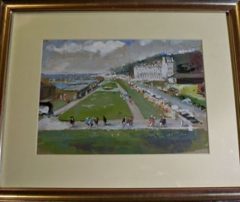 FOLKESTONE PROMENADE , WATERCOLOUR AND GOUACHE SIGNED JOHN V. EMMS C1960.   SOLD.