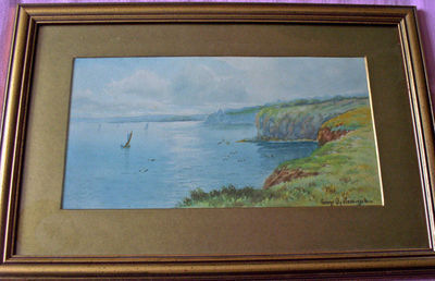 A COASTAL SCENE WITH BOATS, WATERCOLOUR SIGNED BY GEORGE OYSTON 1916  FRAME
