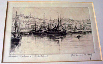 INNER HARBOUR BRIXHAM, AN ETCHING IMPRESSION, SIGNED BY A. Simes (aka Edgar James Maybery) c1900.   SOLD.
