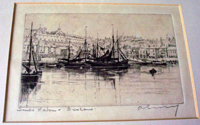 INNER HARBOUR BRIXHAM, AN ETCHING IMPRESSION, SIGNED BY UNKNOWN ARTIST c190