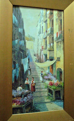NEAPOLITAN STREET SCENE WITH FLOWER SELLER WATERCOLOUR SIGNED G.ROVINI  c19