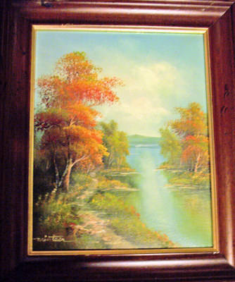 TOWARDS THE LAKE, SIGNED BY MINTEER. OIL ON CANVAS, FRAMED. c1980's