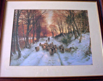 GLOWED WITH TINTS OF EVENING HOURS BY JOSEPH FARQUHARSON PRINT FRAMED & GLAZED.   SOLD.