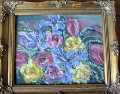 STILL LIFE STUDY OF FLOWERS IN OIL ON BOARD FRAMED c1980's