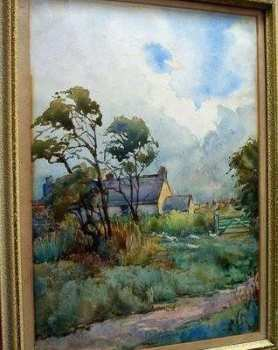 FARM NORTH SCALES WATERCOLOUR  SIGNED MONOGRAM JG   J.GEORGE DETAILS VERSO.    SOLD.
