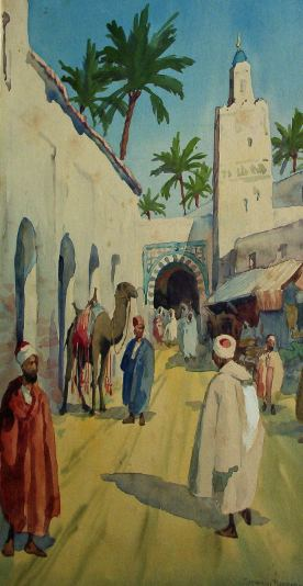 Arab street scene, with camel and figures, watercolour on paper, signed by Giovanni Barbaro. c1901.