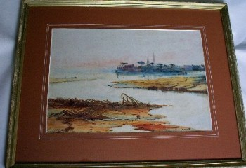 The Norfolk Broads, watercolour on paper, signed Albert Atkins, c1950. Original frame.