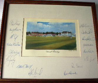 Print of Trent Bridge Cricket Ground autographed by Notts Cricket Team c1990.    SOLD.