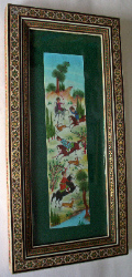INDIAN HUNTING SCENE, GOUACHE ON CARD, FRAMED AND GLAZED 20th C INDIAN SCHO