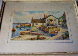 OLD WHARF MOUSEHOLE BY THOMAS HENRY VICTOR WATERCOLOUR ON PAPER FRAMED c1930.   SOLD.