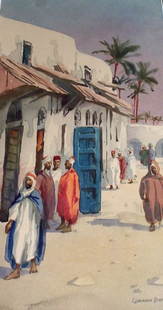 North African street scene, watercolour on paper signed by Giovanni Barbaro, c1901.