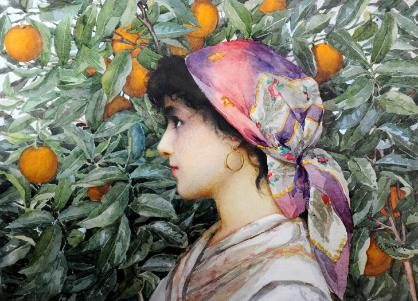 Woman in an orange grove signed Giovanni Barbaro. c1900.