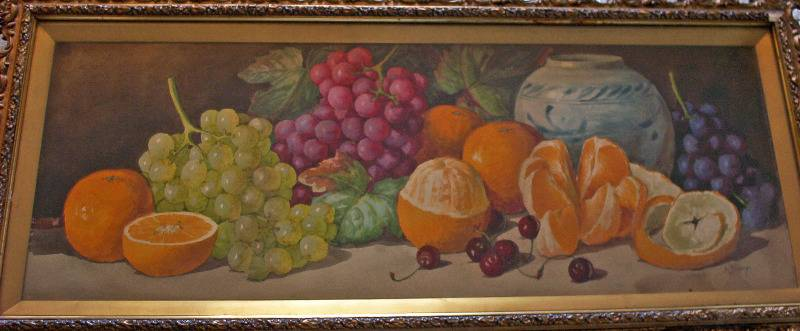 Still life study of fruit signed A. Dudley. c1901.