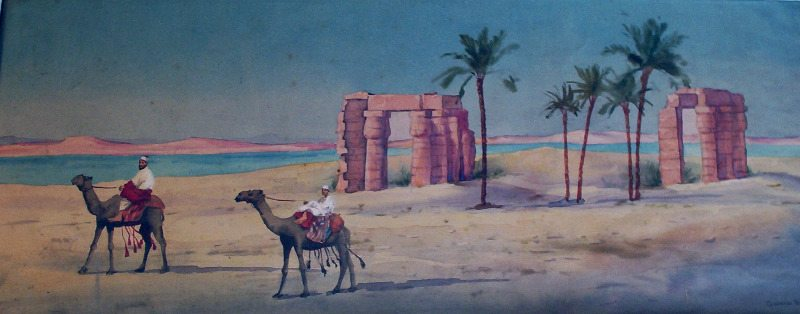 Desert scene with travellers signed Giovanni Barbaro.