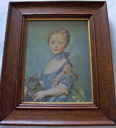 THE GIRL WITH A CAT BY JEAN BAPTISTE PERRONNEAU FRAMED PRINT