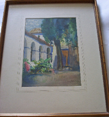 COURTYARD OF CORDOBA CATHEDRAL SIGNED BY JOHN MILNE PURVIS DATED 1934 FRAME