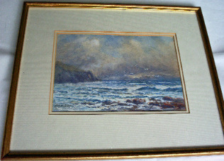 Breakers on the coast, watercolour by James Aitken c1900.  SOLD.