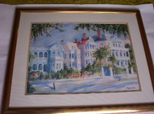 South Battery, Charleston, S.C. Limited Edition 184/1000 signed by Betty Schwark.  SOLD  28.12.2014.