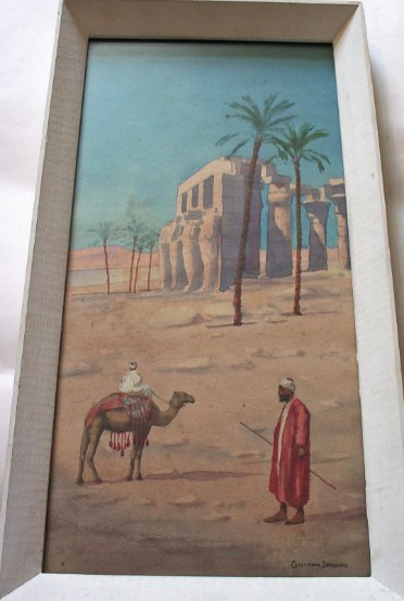 Two travellers passing ruins signed Giovanni Barbaro. c1901.