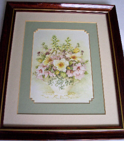 FLOWERS DISPLAY, UNKNOWN ARTIST, FRAMED AND GLAZED c1970's.