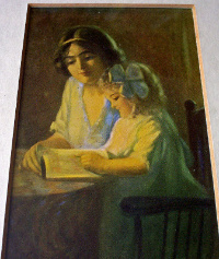 THE LESSON, A PRINT OF GIRL AND CHILD, FRAMED AND GLAZED, c1910.