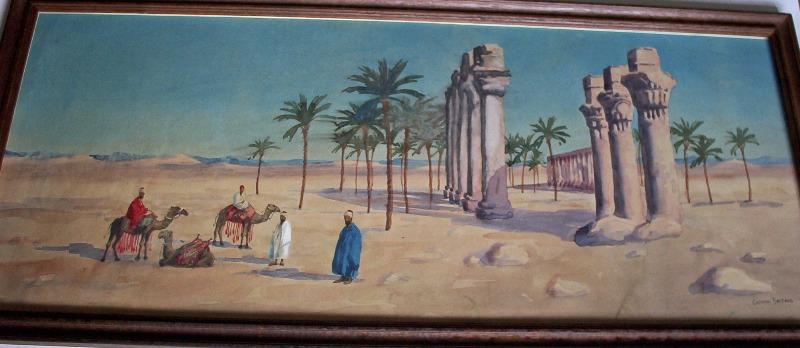 Travellers resting in the desert near ruins, watercolour on paper signed by Giovanni Barbaro. c1900.