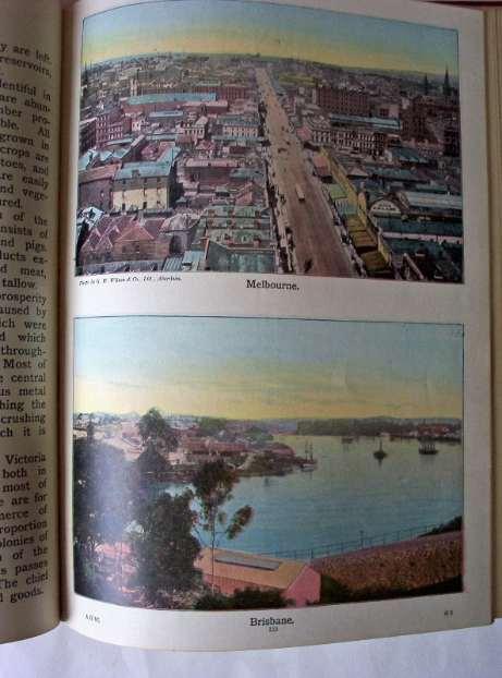 2 colour photos of Melbourne and Brisbane c1890.