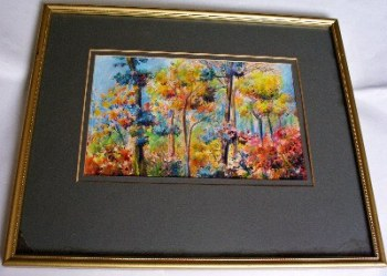 Jungle Sunset, Darwin, NT, signed Holmes Buglass. Watercolour on paper c1970. Original frame.