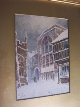 St Mary's Hall Coventry, A Winter Town Scene, by Herbert Edward Cox 1918.    SOLD.