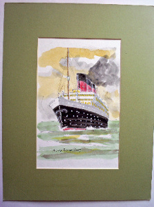 Passenger Liner under full steam, watercolour on card, signed Paul W Rotton
