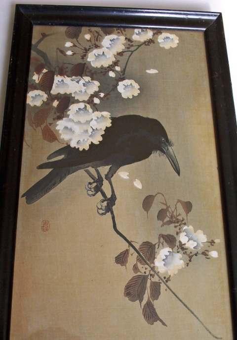 Black crow mixed media on silk