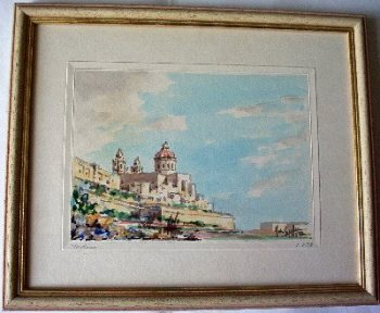 Mdina, watercolour signed Joseph Galea Malta dated 1973.  SOLD.