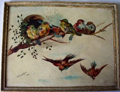 Birds of a feather, oil painting on board by Arthur Blackham dated 1902.