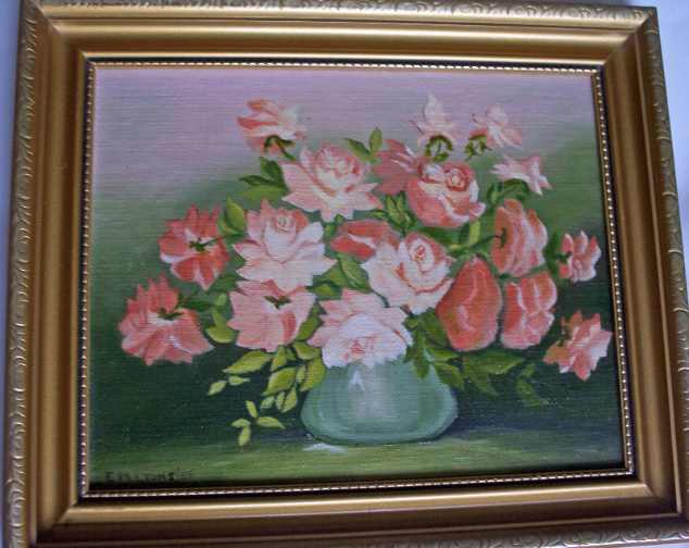 Miniature roses, oil on board by E.M. Lyons.