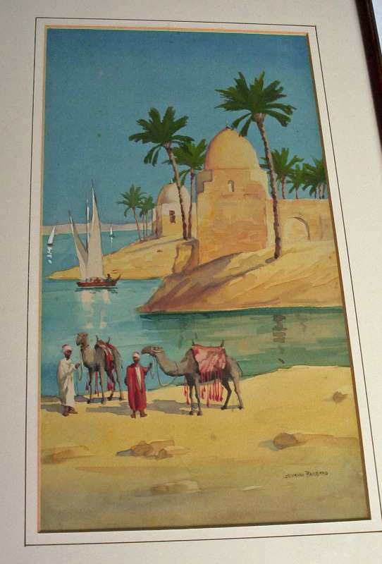 On the banks of the Nile by Giovanni Barbaro c1900.