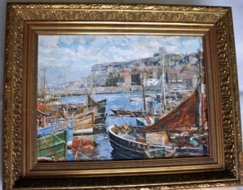 Whitby, East Cliff, oil on canvas, signed by artist A.F. Watson c1960.   SOLD.