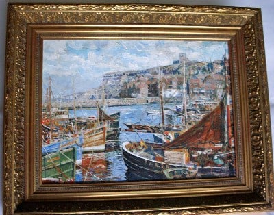 Whitby, East Cliff, oil on canvas, signed by artist A.F. Watson c1960.   SO