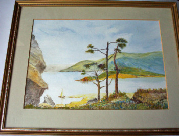 The Pine Trees, watercolour on art paper, signed Ed Lister '83.