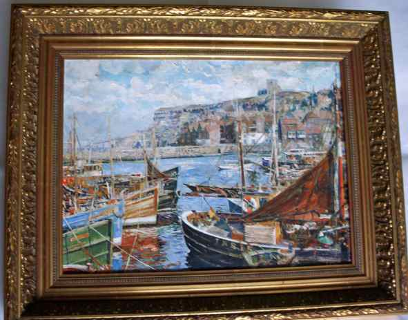 Impressionist view of Whitby Harbour, oil on canvas.