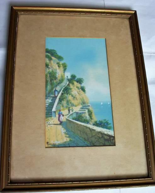 An Italian coastal scene signed H. Fusci.