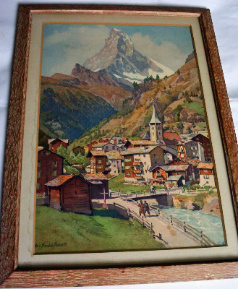 Matterhorn, lithograph from watercolour signed Edo v. Handel-Mazzetti, c1960.    SOLD.