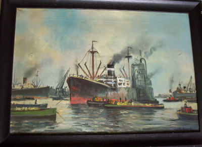 Busy docks scene, oil on canvas, signed Gyrth Russell.  SOLD.