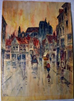 A rainy street scene in Abbeville, watercolour on card, signed Hy Woods, c1890.