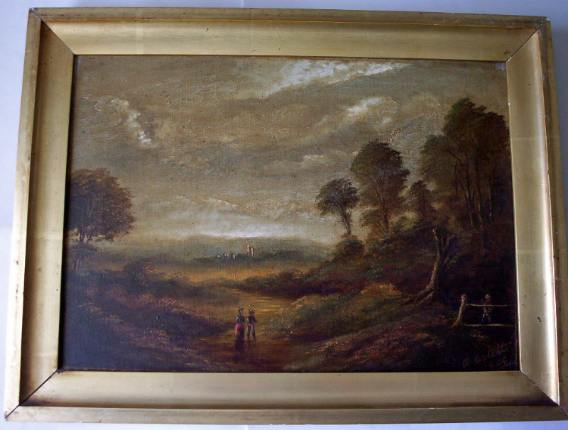 Oil on canvas signed A. Aslett 1909.