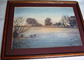 Sunset in Lincolnshire, watercolour signed by V.E. Tuff 1989.   SOLD.