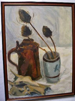 Still life study of stein, poulet roti and dried flowers, oil on board c1980.    SOLD.
